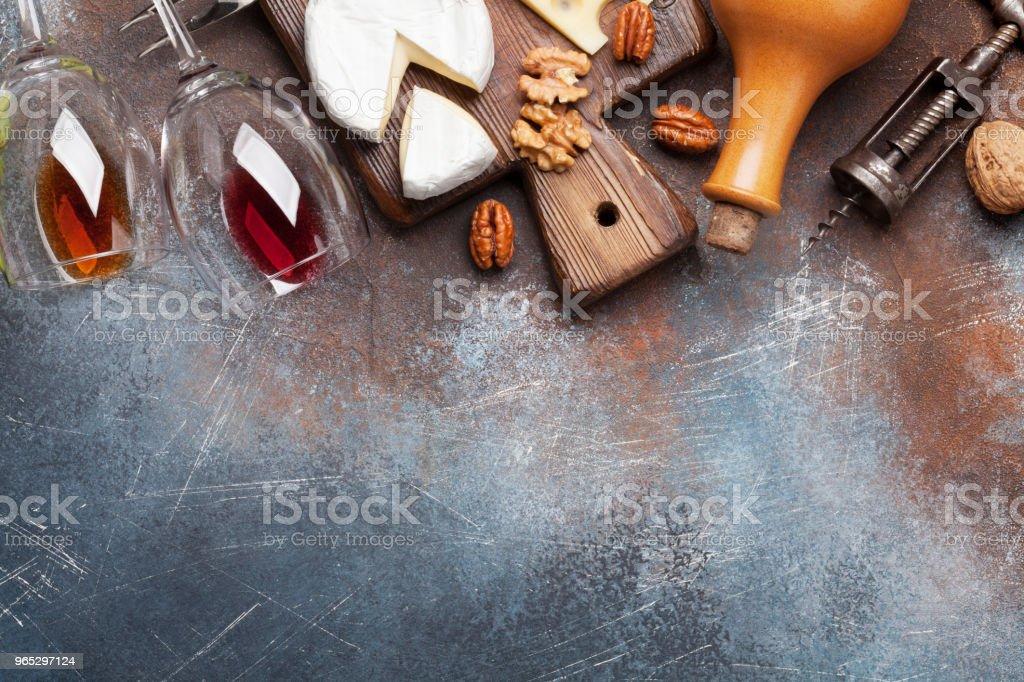 Wine, nuts and cheese zbiór zdjęć royalty-free