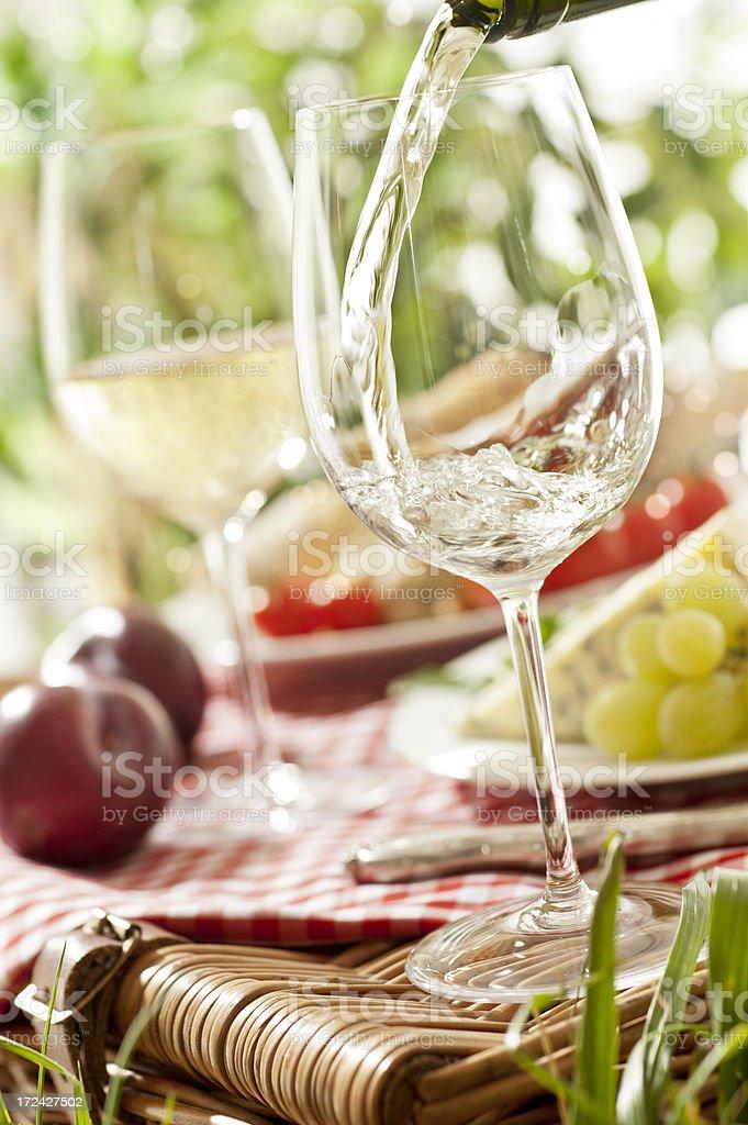 Wine on Picnic Basket royalty-free stock photo