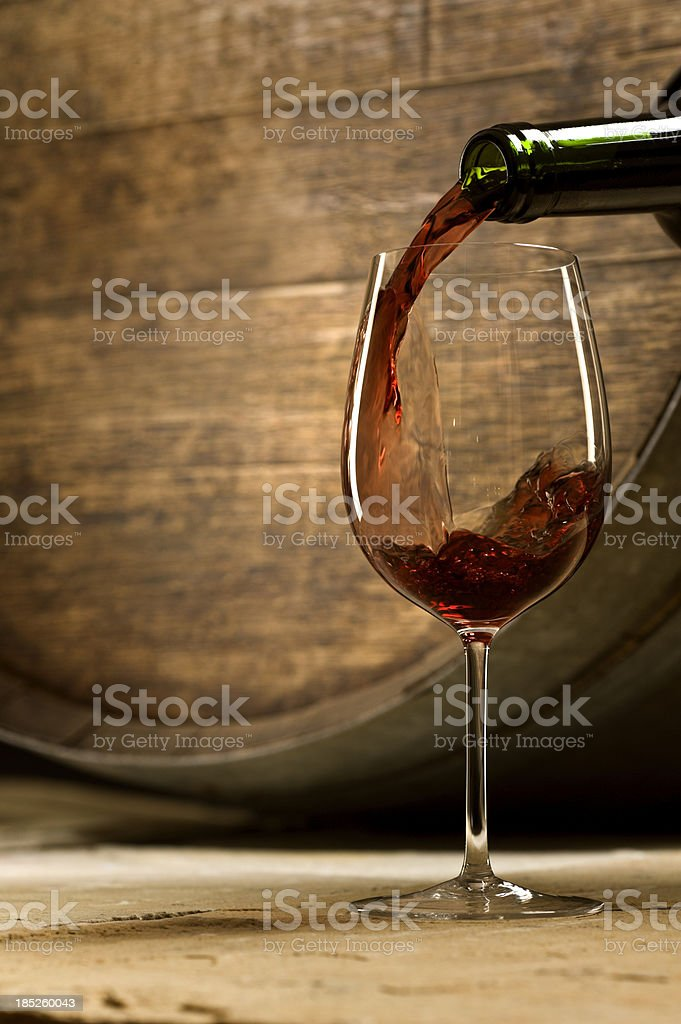 Wine Pour in Cellar royalty-free stock photo