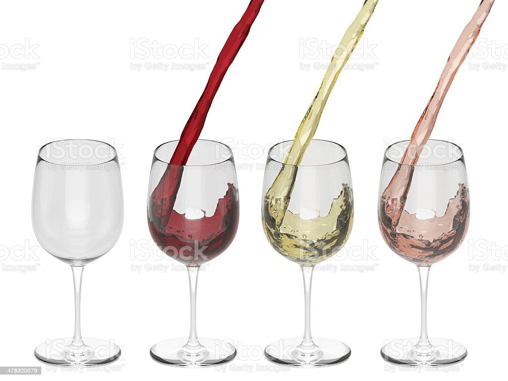 Wine Pouring Into Glass - Set royalty-free stock photo