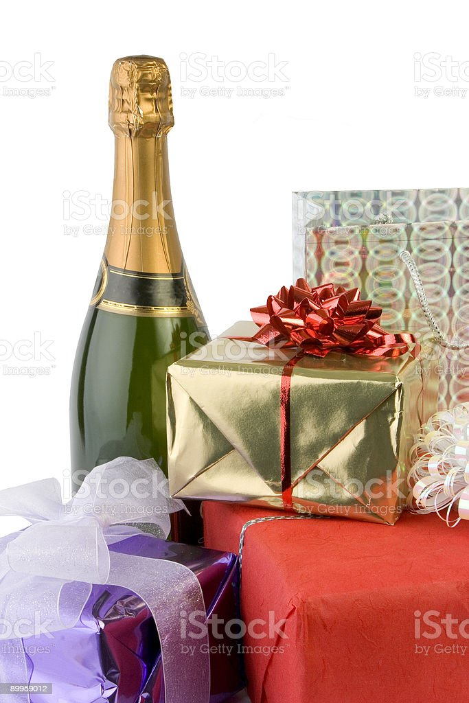 Wine & Presents royalty-free stock photo