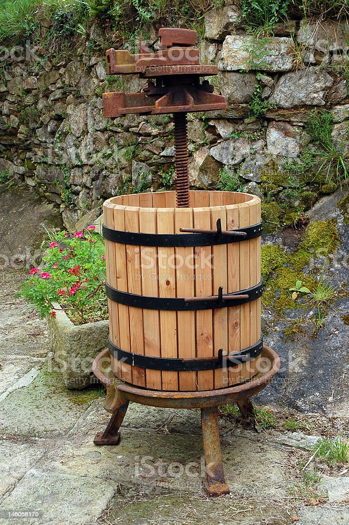 Wine press stock photo