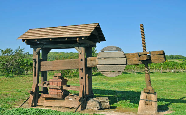wine press,vineyard,burgenland,austria - burgenland stock-fotos und bilder