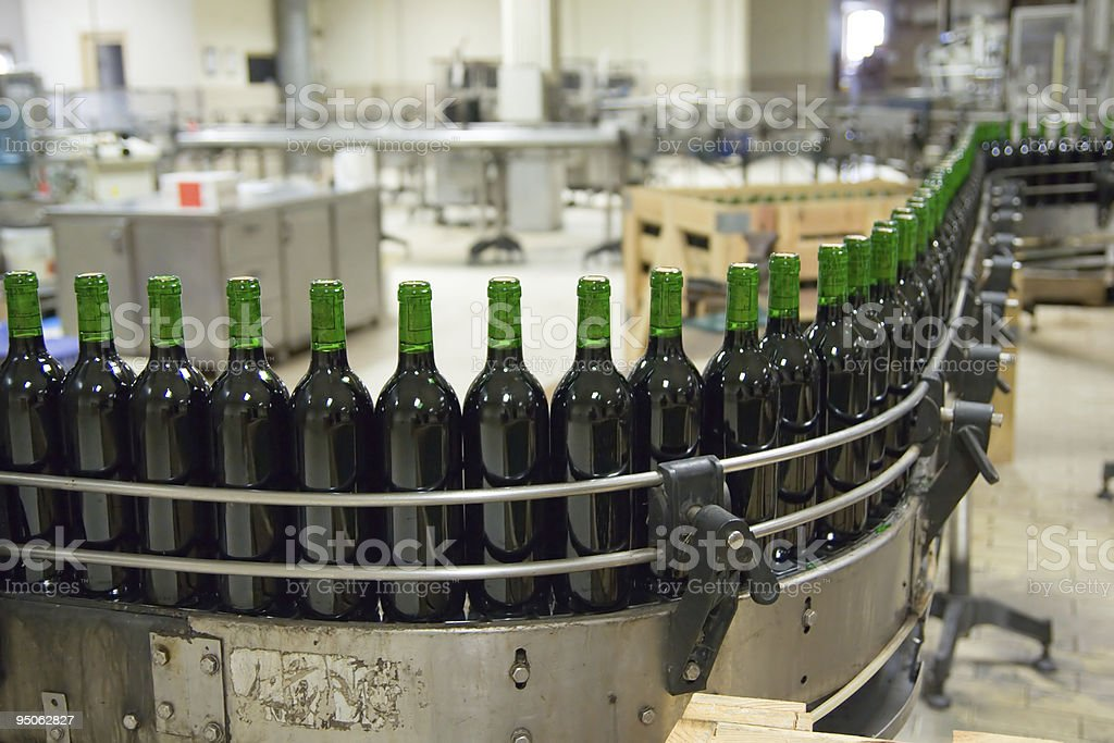 Wine production line stock photo