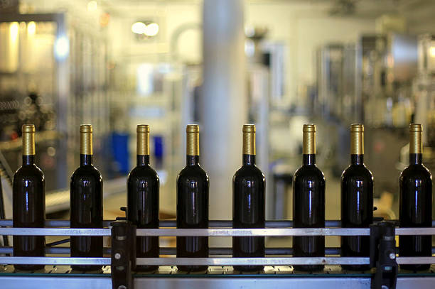 wine production - bottling plant stock photos and pictures