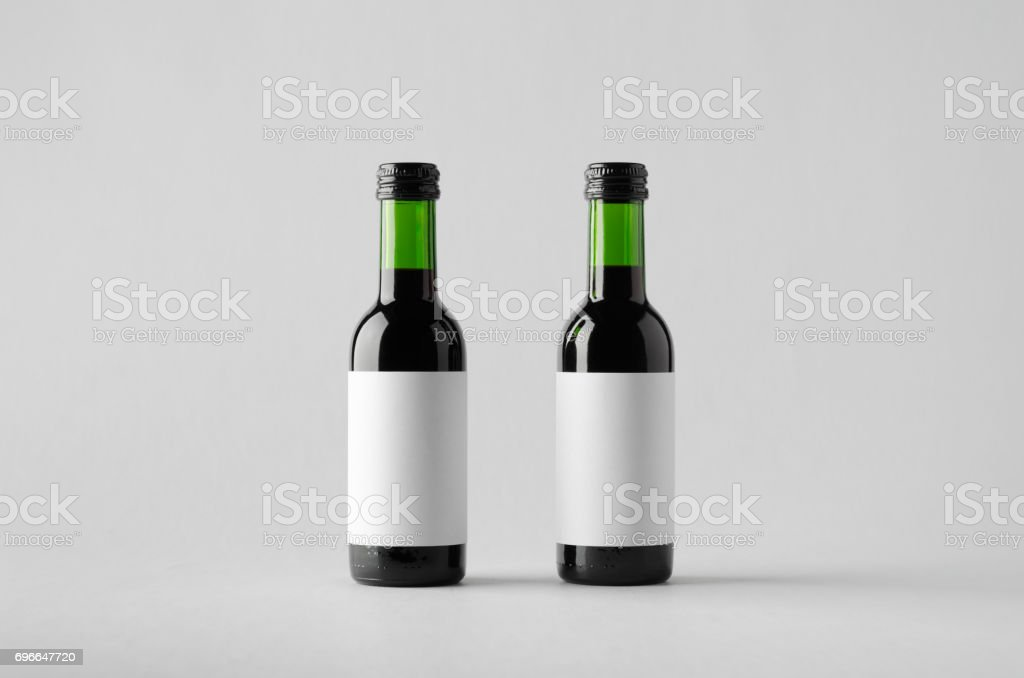 Wine Quarter/Mini Bottle Mock-Up - Two Bottles. Blank Label