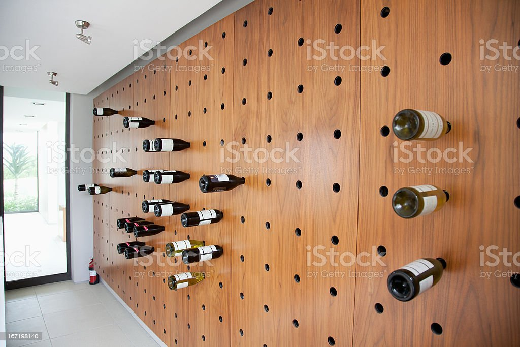 Wine rack in modern house stock photo