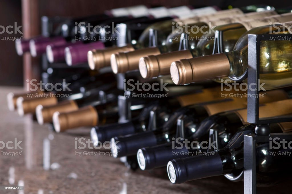 wine rack in upscale restaurant royalty-free stock photo