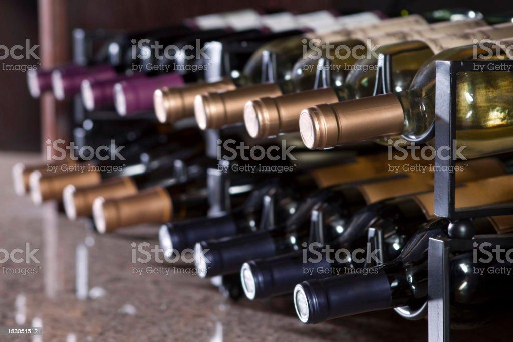 wine rack in upscale restaurant stock photo