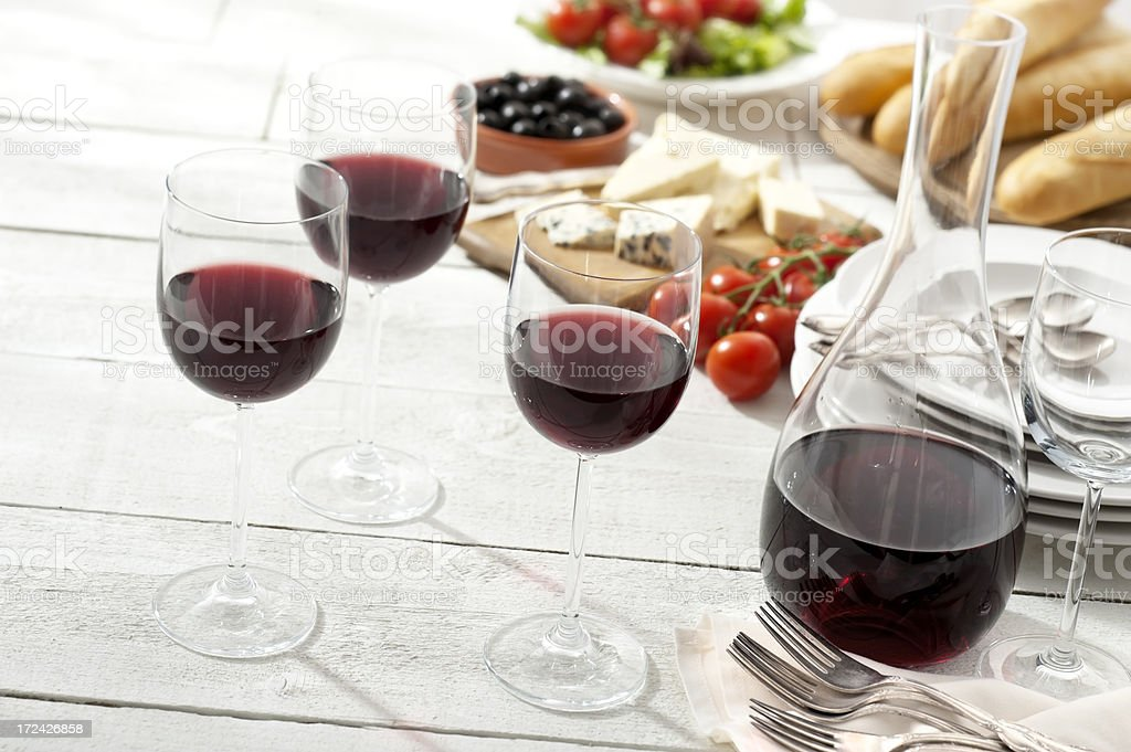 Wine served at a Picnic stock photo
