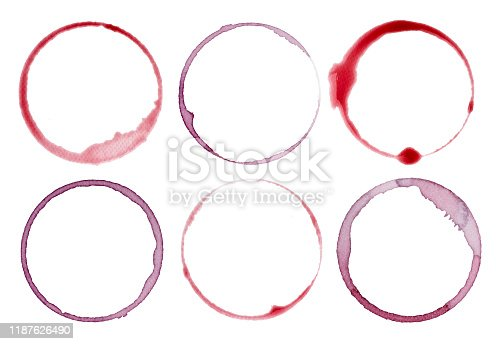 close up of  a wine stain on white background