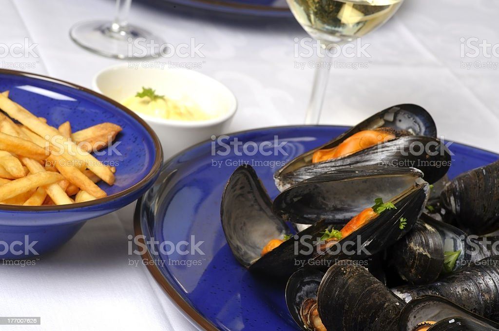 Wine steamed mussels royalty-free stock photo