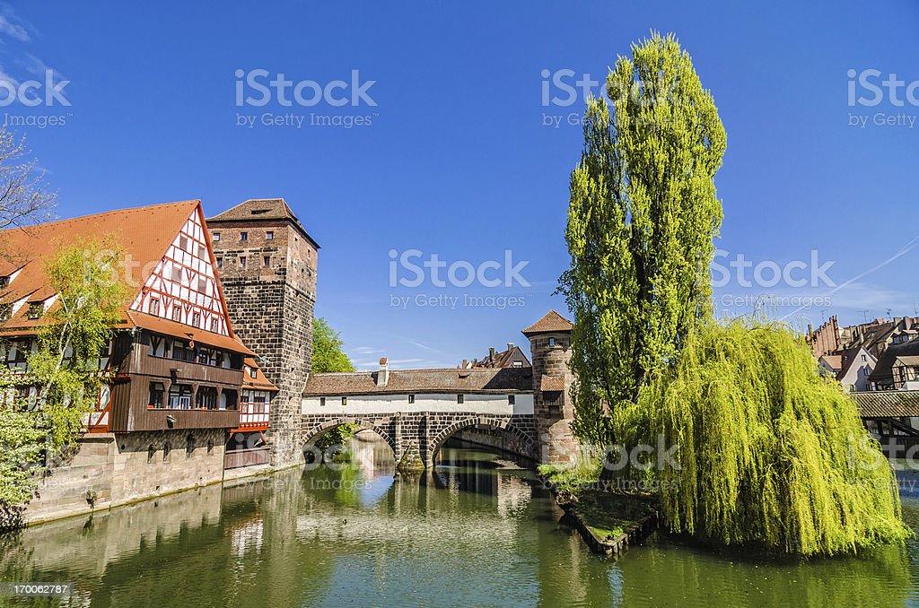 Wine Store and Hangman's Bridge Nuremberg (Weinstadl und Henkersteg Nürnberg) royalty-free stock photo