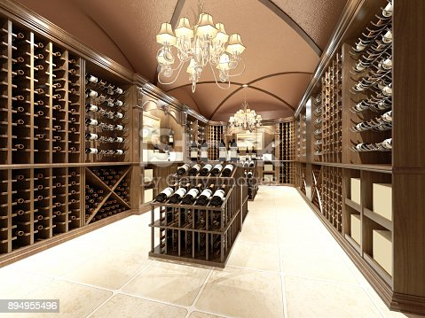 istock Wine store with wooden design 894955496