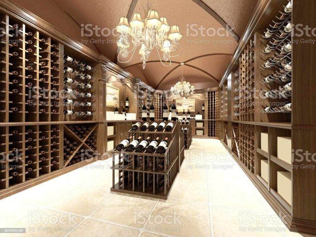 Loja de vinhos com design de madeira - foto de acervo