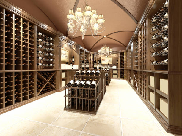 Wine store with wooden design Wine store with wooden design cellar stock pictures, royalty-free photos & images