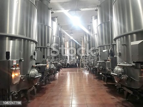 Wine tanks in a factory