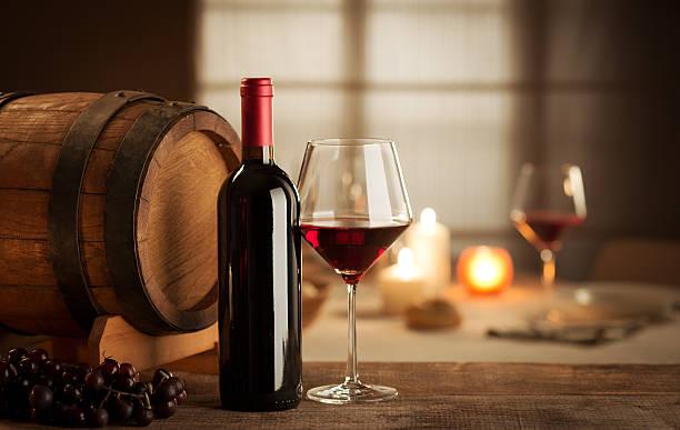 Wine tasting at restaurant stock photo