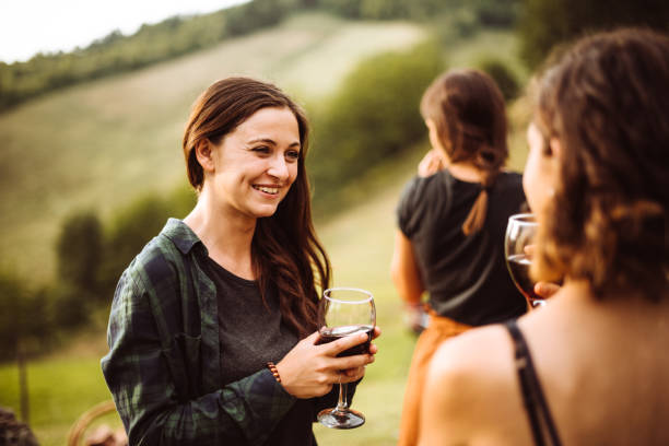 wine tasting at the picnic stock photo