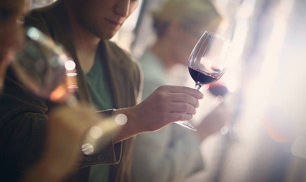 Wine tasting event. Group of unrecognizable caucasian adults tasting wine in wine cellar. Comparing appearance, smell, aroma,taste,aftertaste. The man in focus is holding a glass of red wine and looking at its color. winetasting stock pictures, royalty-free photos & images