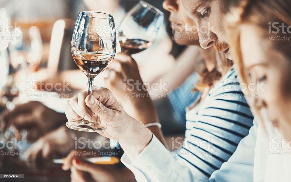 Wine tasting event. stock photo