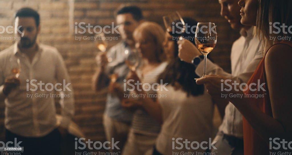 Wine tasting in a wine cellar. stock photo