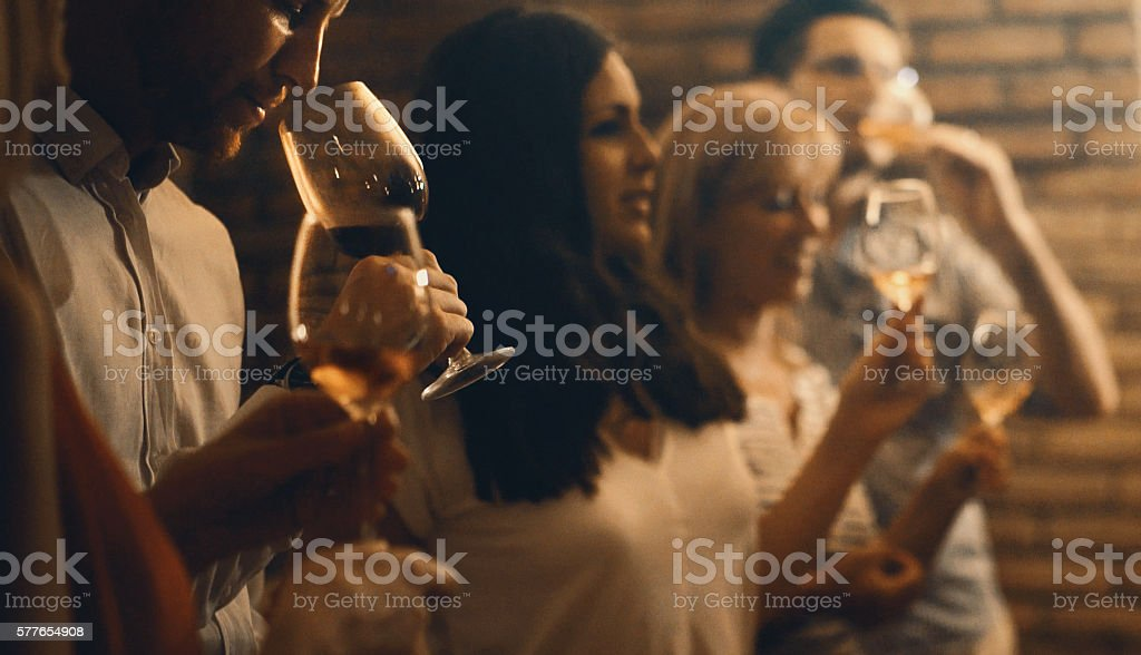 Wine tasting in a wine cellar. stock photo