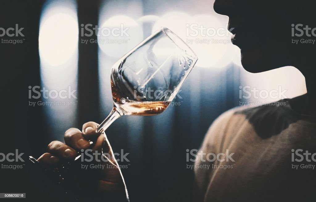 Wine tasting in wine cellar. stock photo