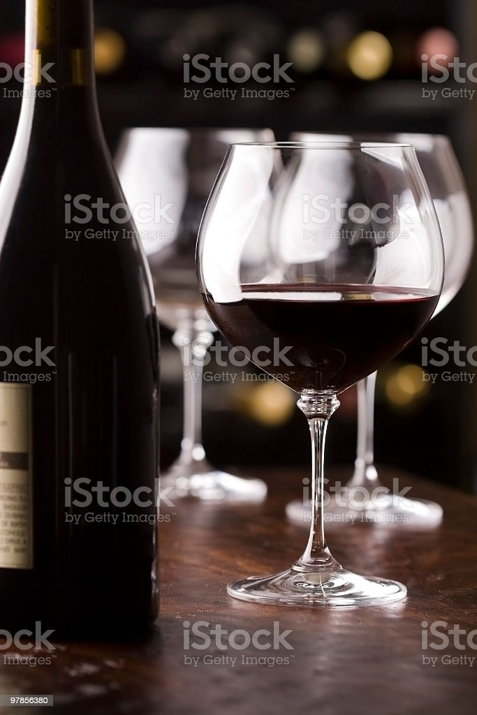 Wine tasting set up in front of rack royalty-free stock photo