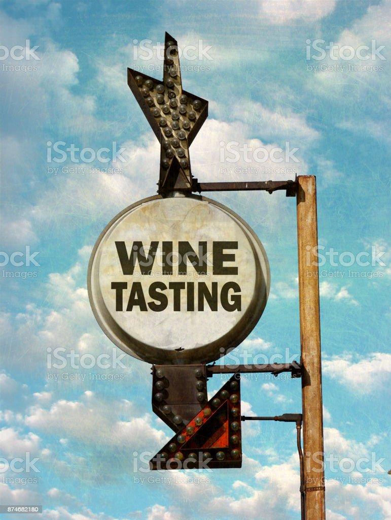 wine tasting sign stock photo