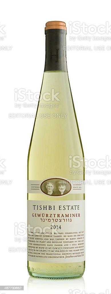 Wine Tishbi Estate Gewurztraminer 2014 stock photo