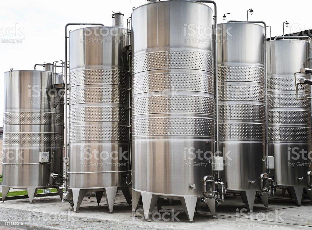 wine vats on the winery stock photo