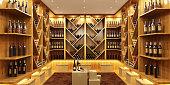 Bottles with wine in a modern wine vault