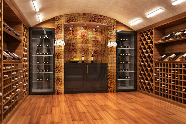 Wine vault Bottles with wine in a modern wine vault wine cellar stock pictures, royalty-free photos & images
