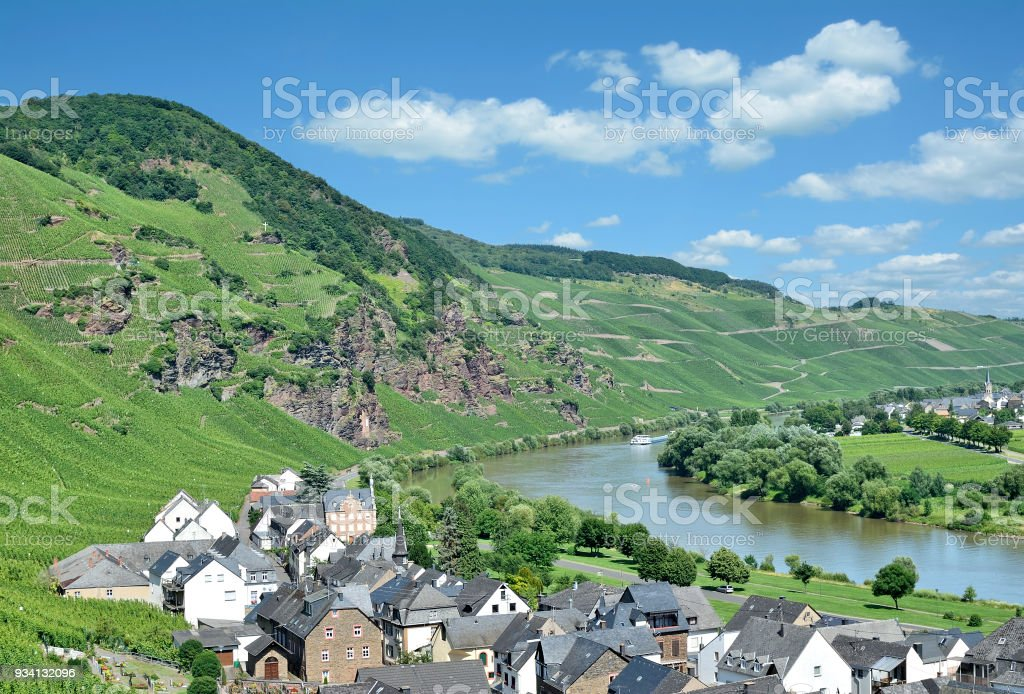 Wine Village of Uerzig,Mosel Valley,Rhineland-Palatinate,Germany stock photo