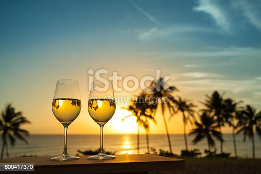 istock Wine with beautiful sunset 600417370