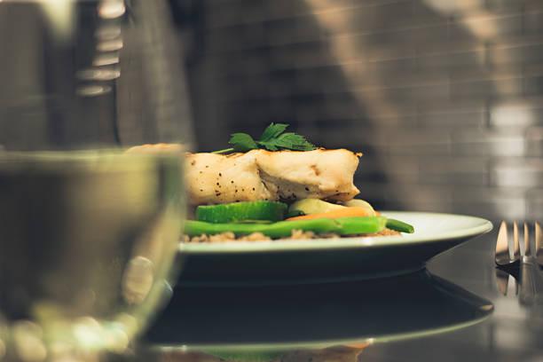 wine with dinner stock photo