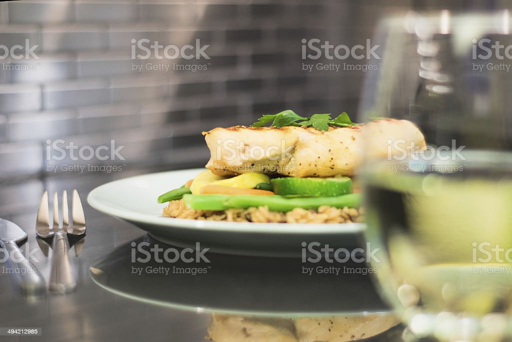 Wine with dinner stock photo