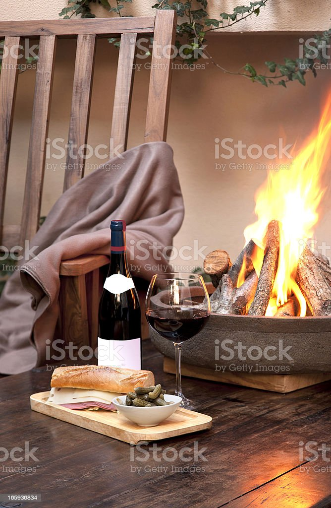 Wine with fire stock photo