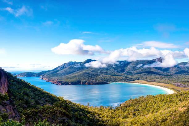 wineglass bay, tasmania. - tasmania stock photos and pictures