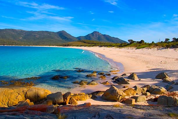 wineglass bay tasmania - tasmania stock photos and pictures