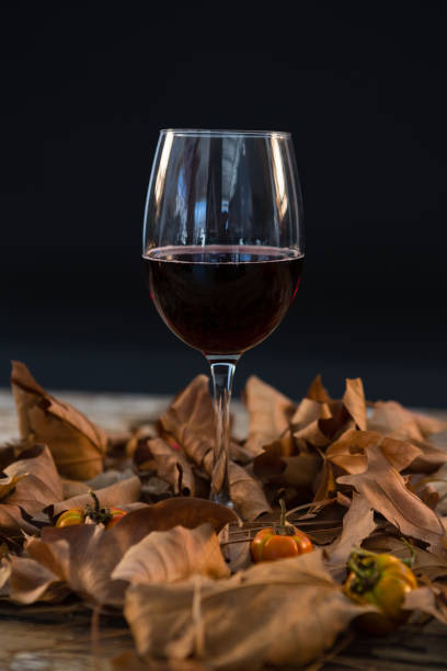 Wineglass glass amidst dry leaves Wineglass glass amidst dry leaves on wooden table against black background amidst stock pictures, royalty-free photos & images