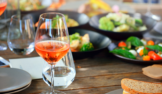 Wineglass and wine