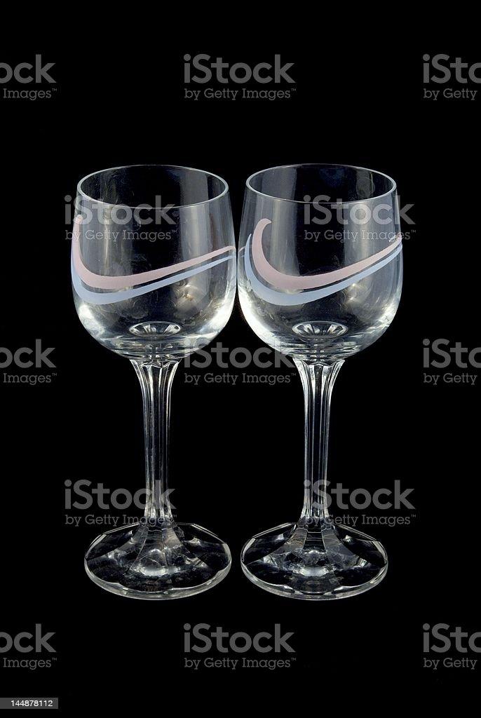 Wineglasses, black background royalty-free stock photo