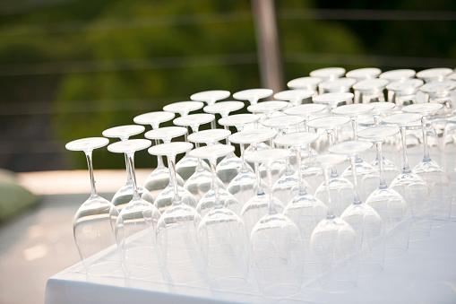 Wineglasses upside down