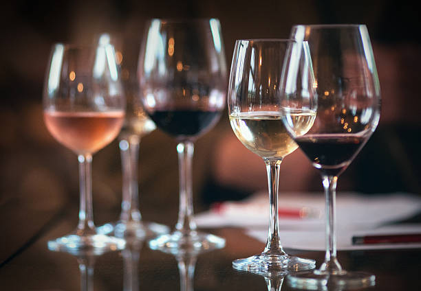 wineglasses with different kinds of wines. - wine glass stock photos and pictures