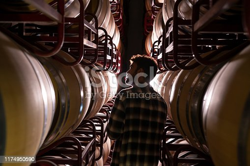 Winemaker checking oak barrels in a dark cellar winery