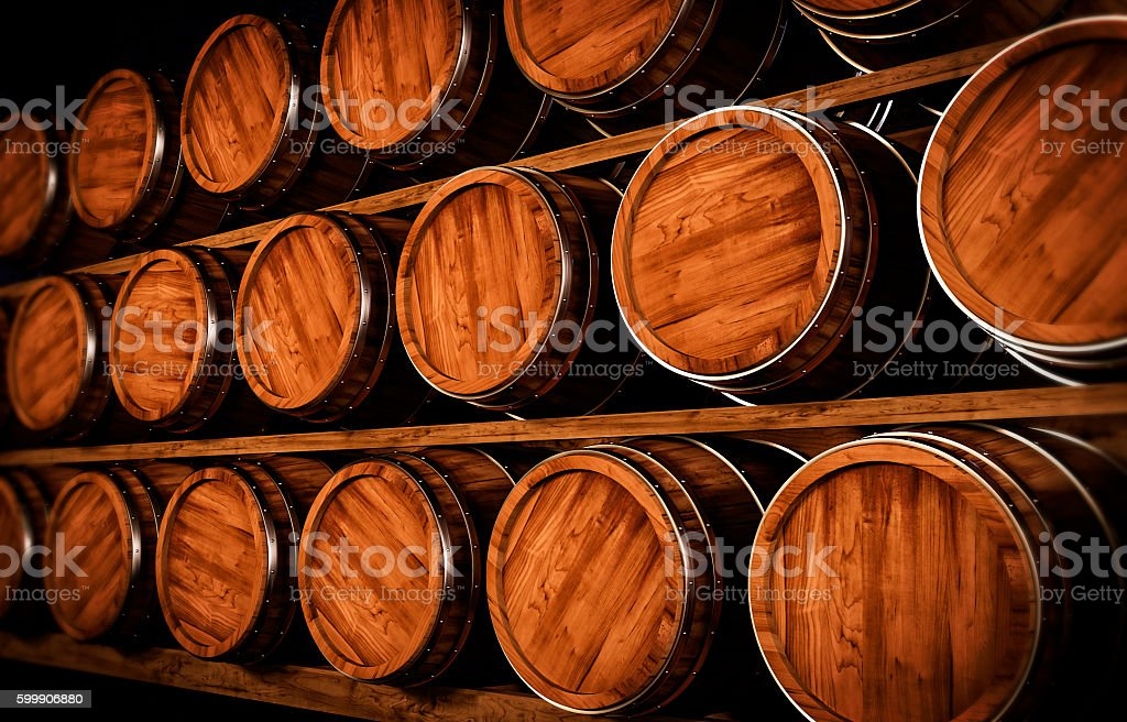 winemaking barrel 3d illustration stock photo