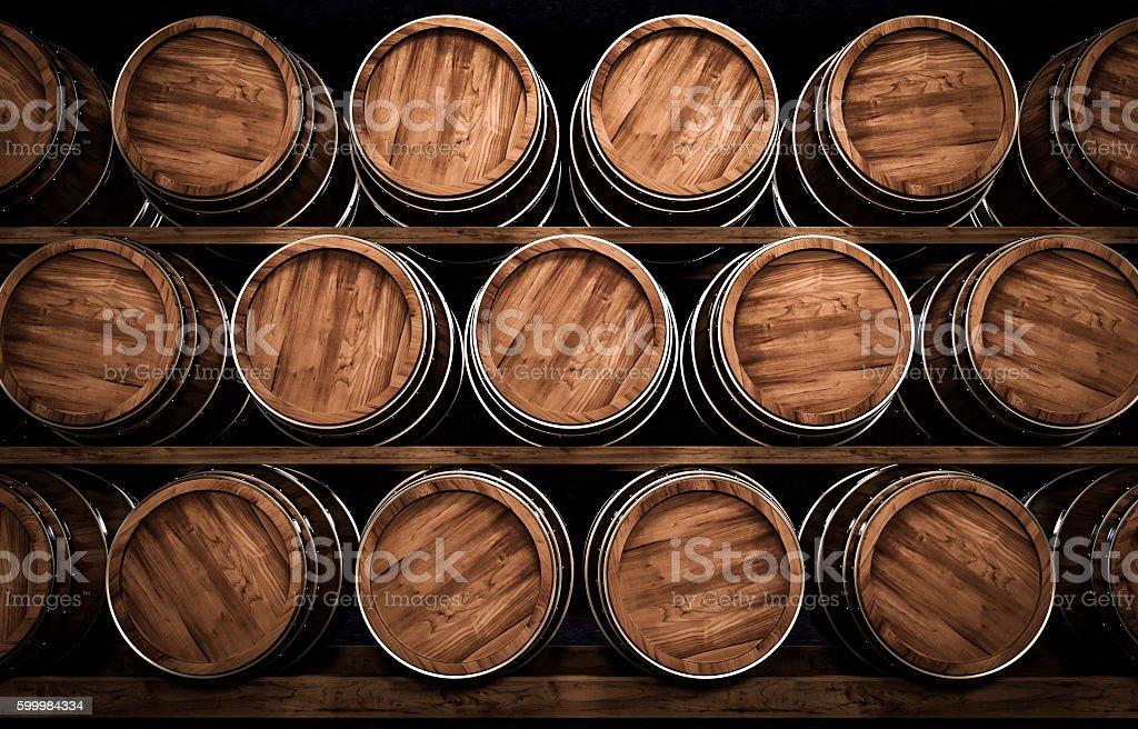 winemaking barrel 3d illustration - foto stock