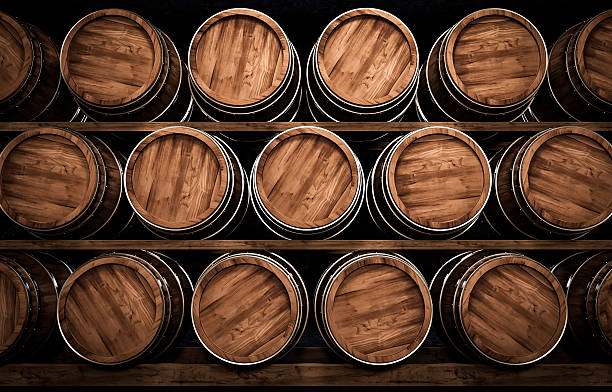 winemaking barrel 3d illustration - foto de acervo